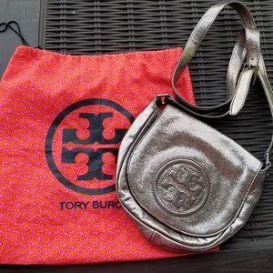 Tory Burch Metallic Silver Crossbody Bag
